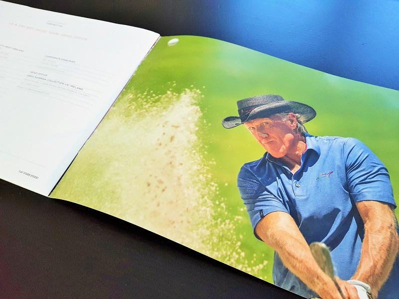 a golf brochure featuring Greg Norman