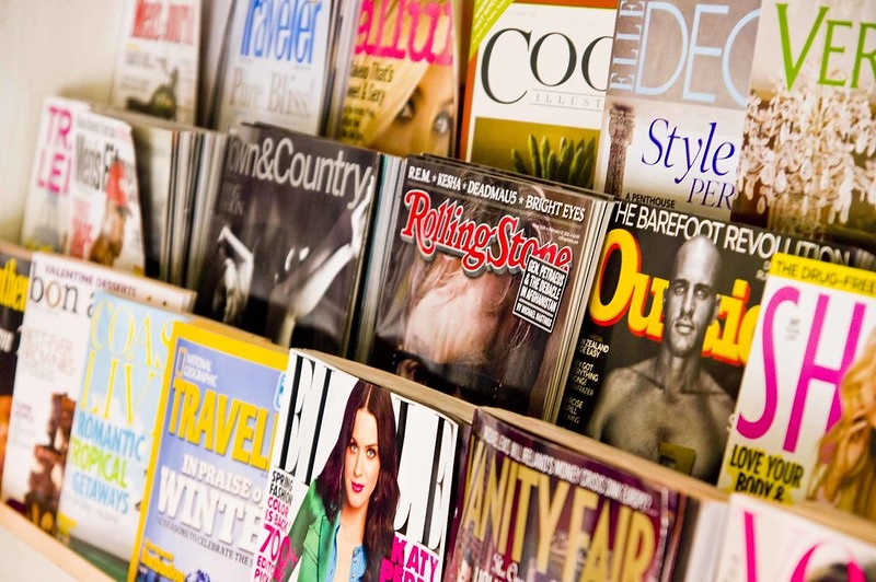 Magazines racked
