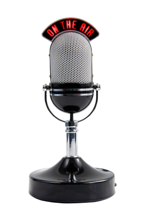 a microphone for voiceover artist Matthew Moore