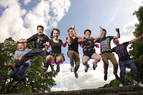 charity sector PR case study young people jumping into the air